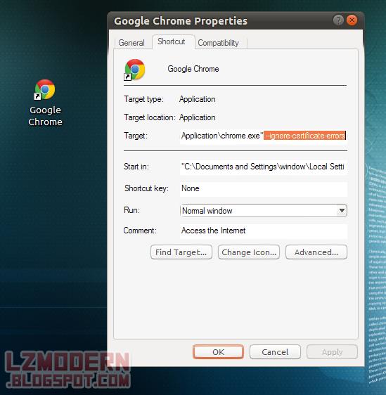 Tambahkan argumen khusus pada shortcut Google Chrome