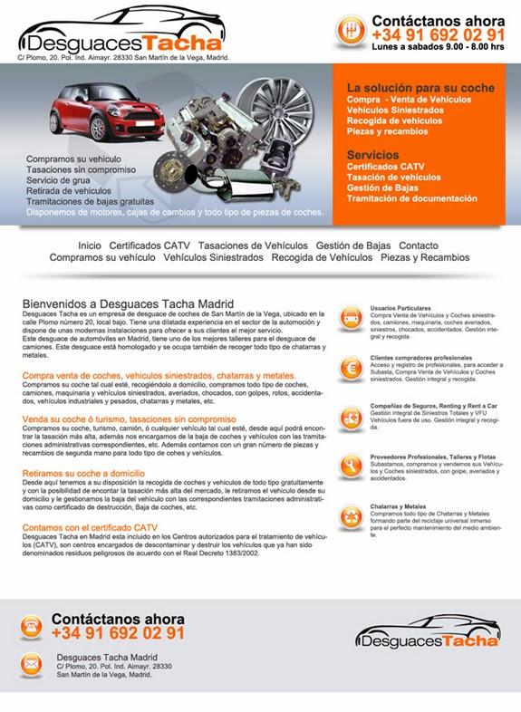 Desguaces Tacha es un desguace en Madrid, especializado en desguace de vehículos, Furgonetas, coches, camiones, maquinaria,
