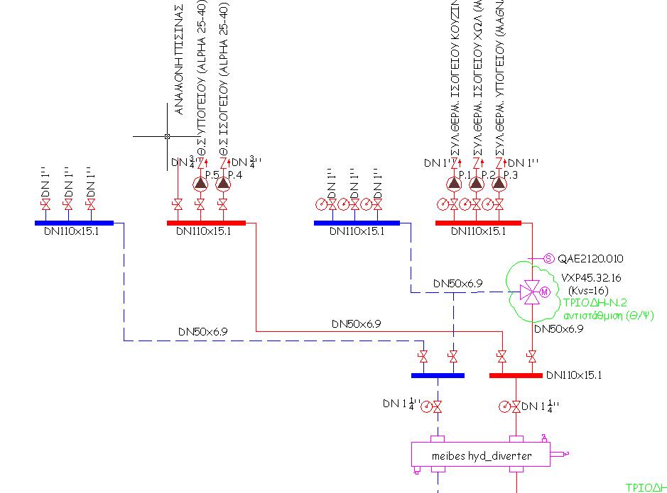 Κατακόρυφο διάγραμμα με τον υδραυλικό διαχωριστή (Πηγή Βασίλης Ορέστης)