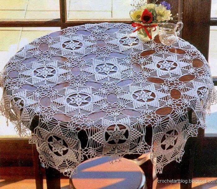 Mantel de encaje en ganchillo para mesa redonda / molde y patrón ...