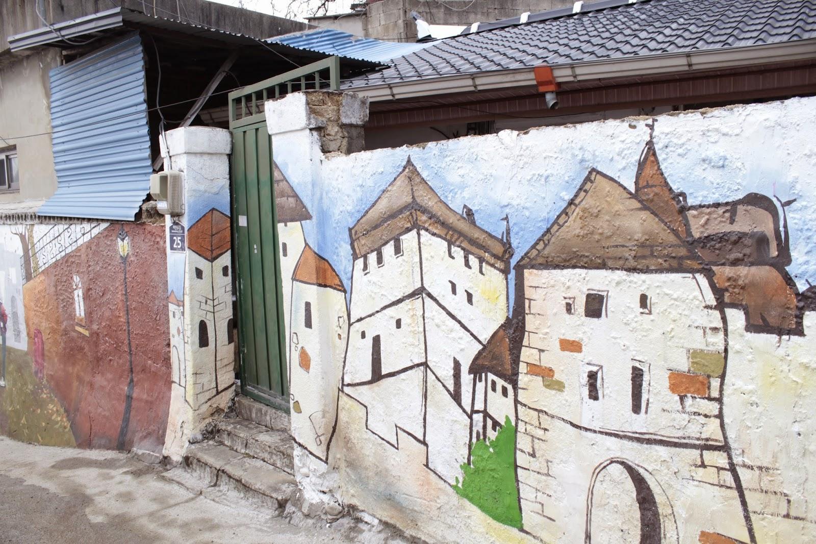 The jaman mural village next hanok village in jeonju city for Mural village