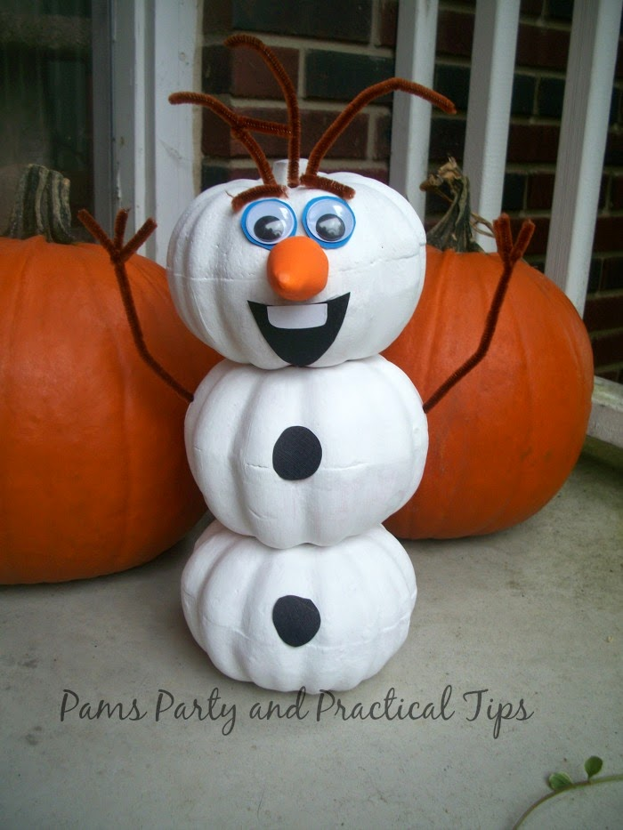 Pams Party and Practical Tips shared her cute Olaf Pumpkin featured at One More Time Events.com