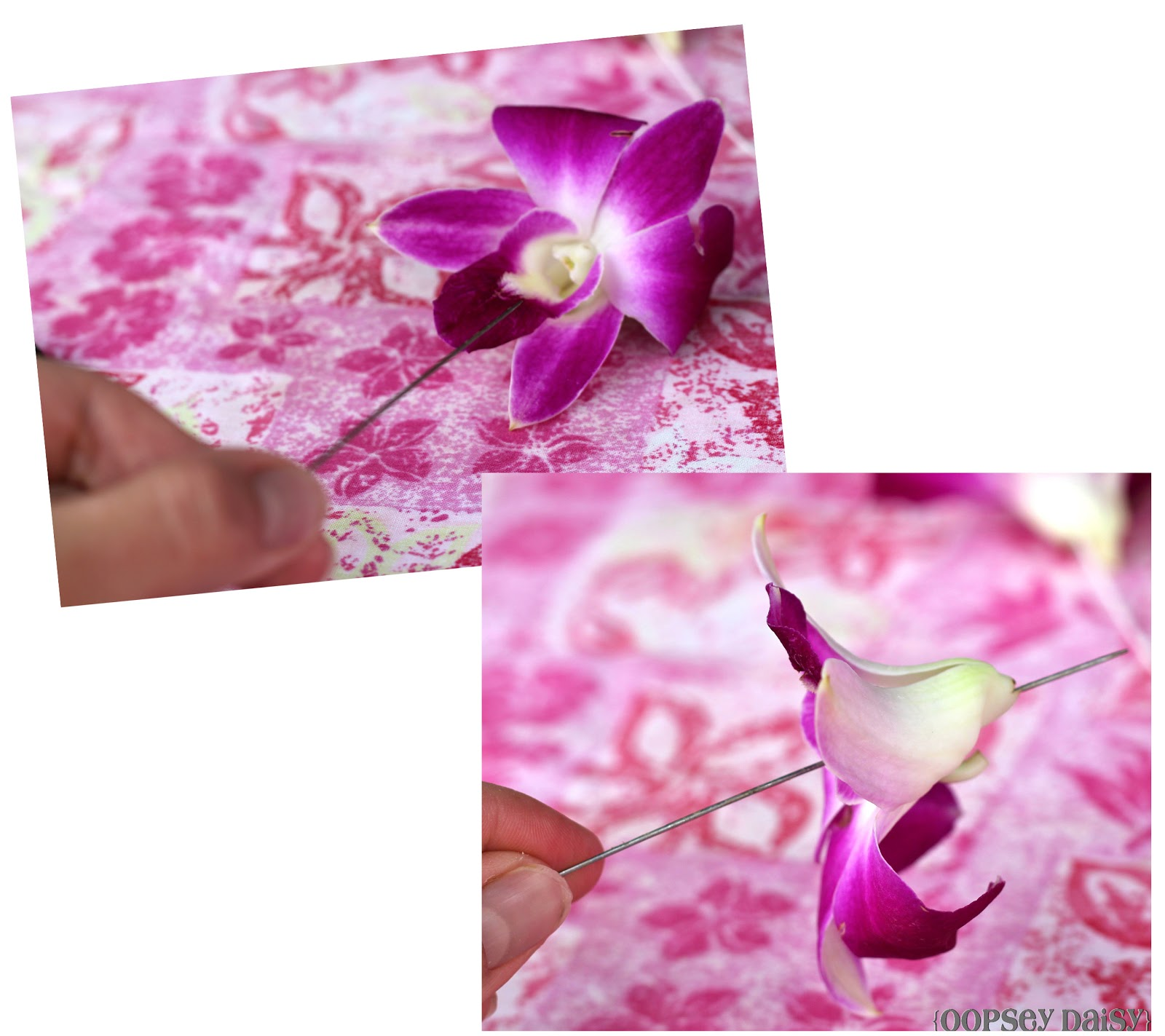 Fresh orchid lei oopsey daisy take the other end of the twine and wrap around the loop of the lei needle pull through so you have plenty of extra and it wont come un done while you are izmirmasajfo
