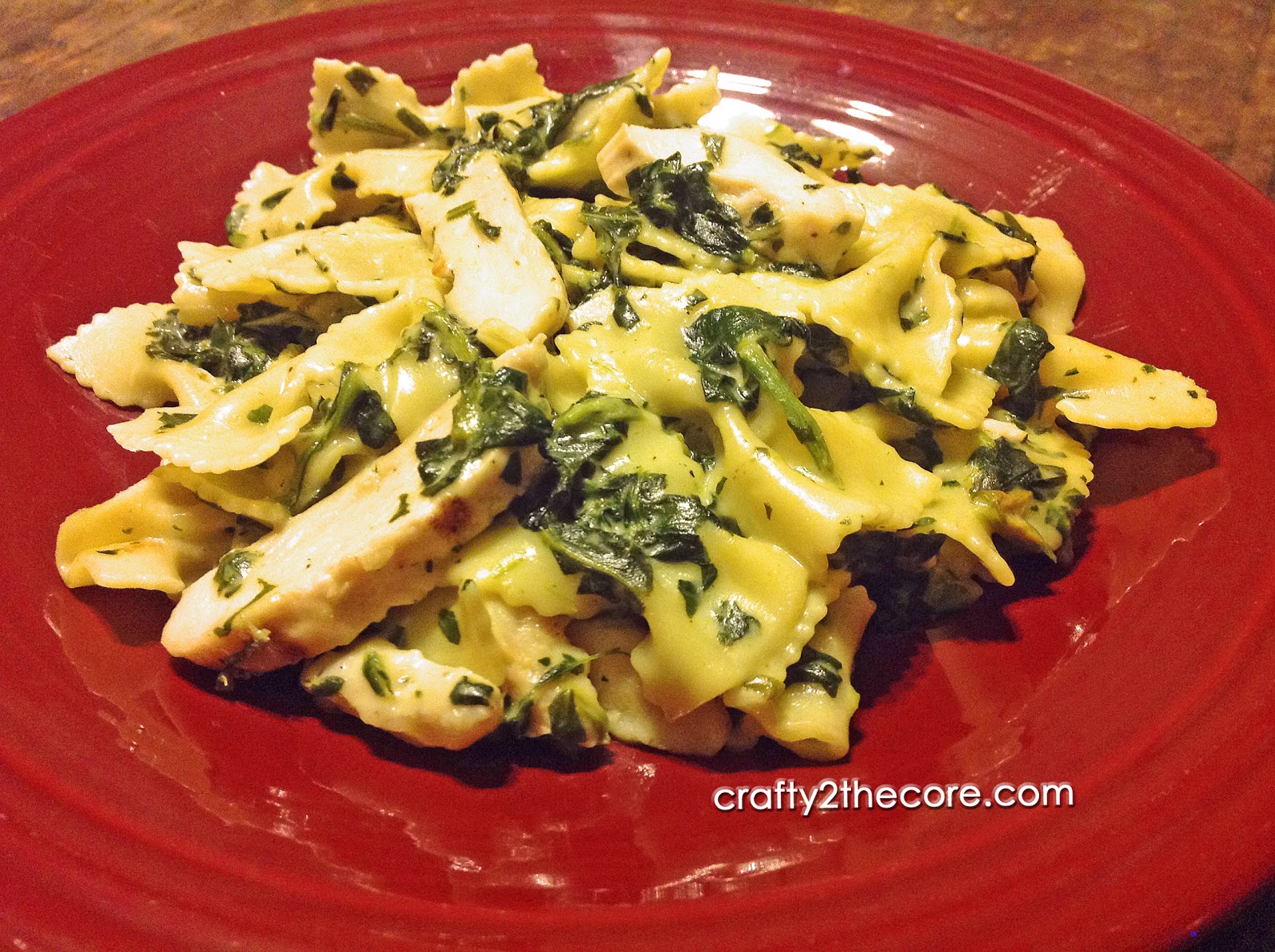 ~Grilled Chicken Florentine Pasta~ Chicken and spinach in a rich creamy parmesan cheese sauce with bow tie pasta