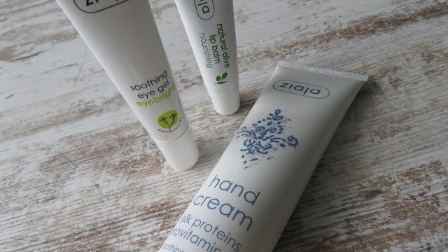 ZIAJA soothing eye gel eyebright, natural olive lip balm, hand cream silk proteins