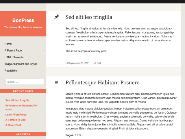 Bonpress - free modern WordPress theme