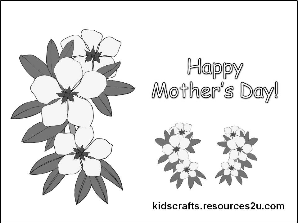Printable Kids Children Happy Mothers Day Coloring Page