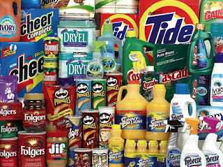 Photo image of the many Procter & Gamble products sold at a typical supermarket in the US.