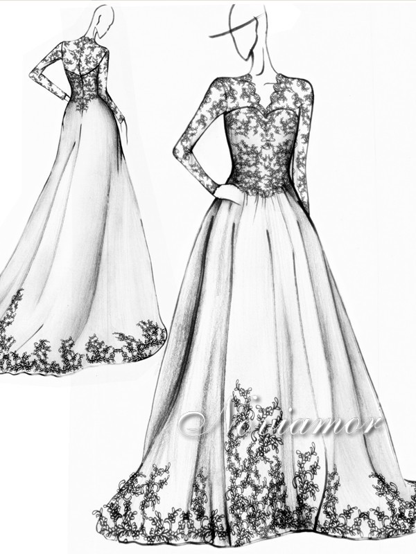 Celine 39 s wedding dress wedding dress sketches for How to draw a wedding dress