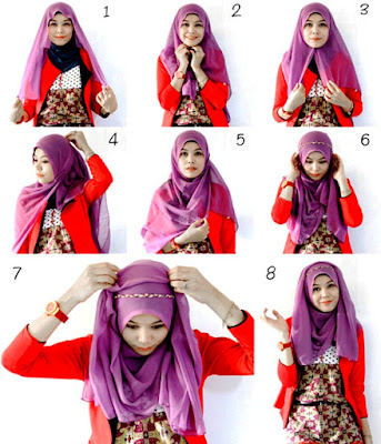 cara memakai jilbab segi empat modern untuk remaja