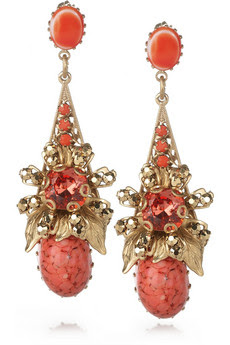 Cristal de Corail 24-carat gold-plated earrings