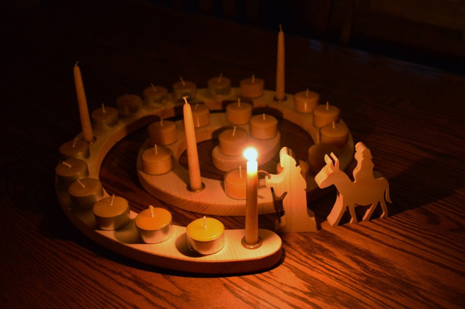 On Saturday night once my little man was sound asleep I spent time preparing our home for Advent. Our dining table was cleared and placed in the center ... & Mothering with Mindfulness : The First Light of Advent