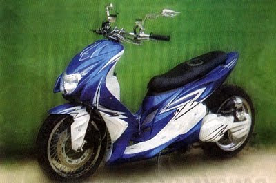 foto gambar modifikasi Yamaha Mio LOW RIDER BLUE AIR BRUSH