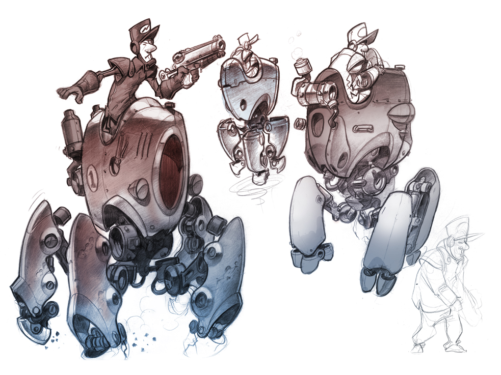 Blue Chevrons Rough Sketches Of Mechs In The Style Of Old Cars