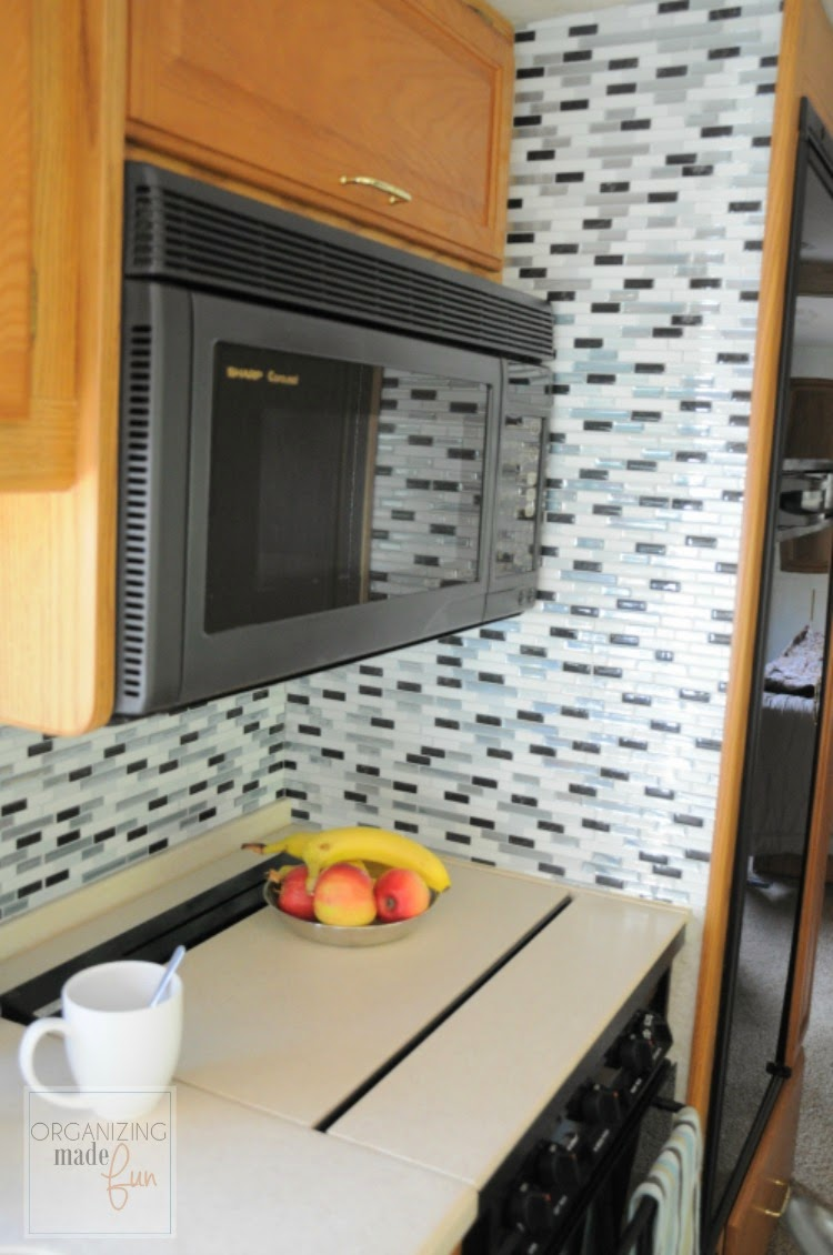 "Motorhome kitchen updated with self adhesive ""tiles"" :: OrganizingMadeFun.com"