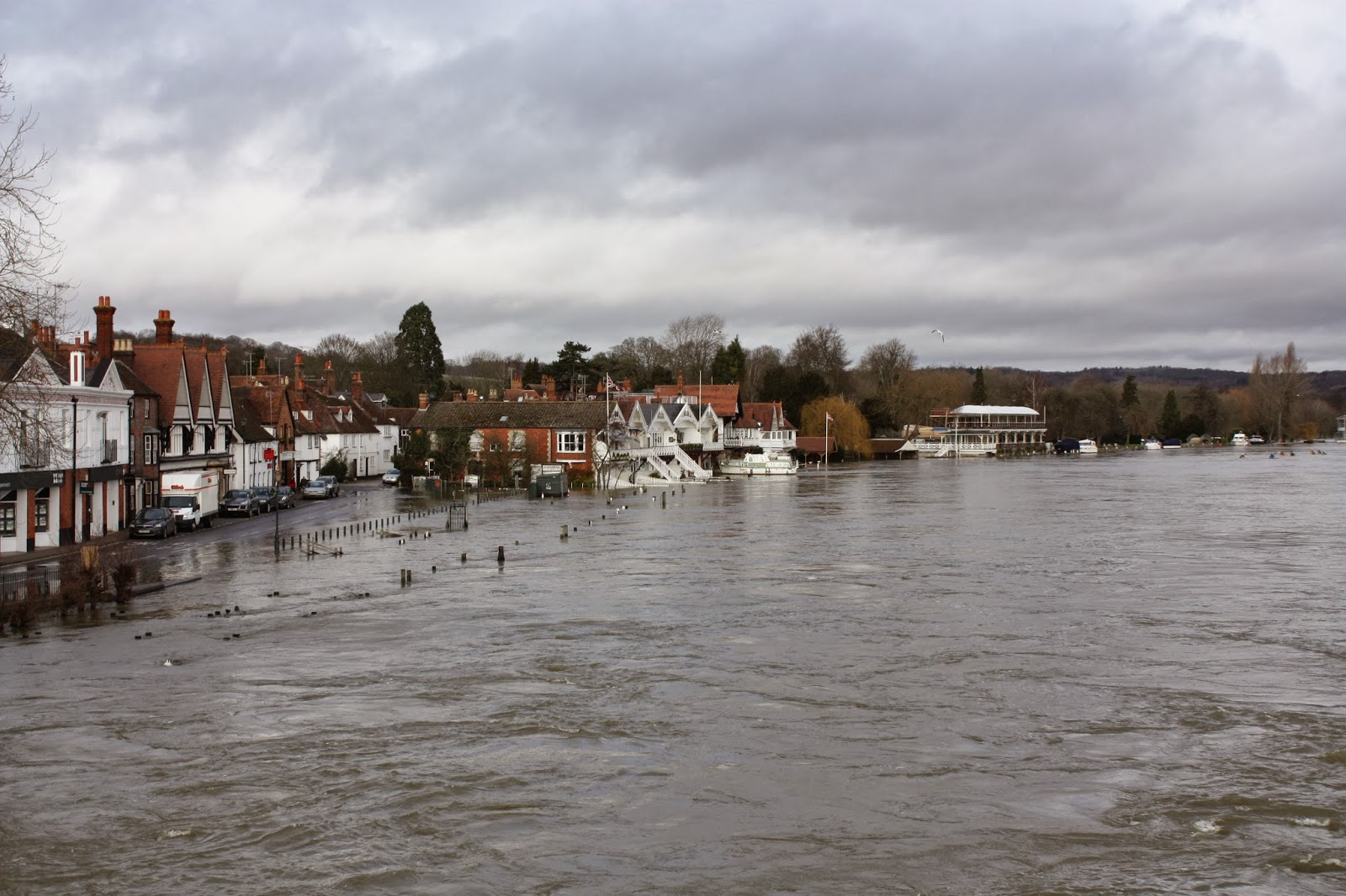Flooded Regatta course in Henley on Thames