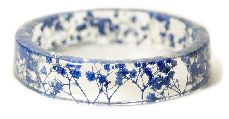 Pulseras de resina hecho a mano incrustado con las flores y corteza