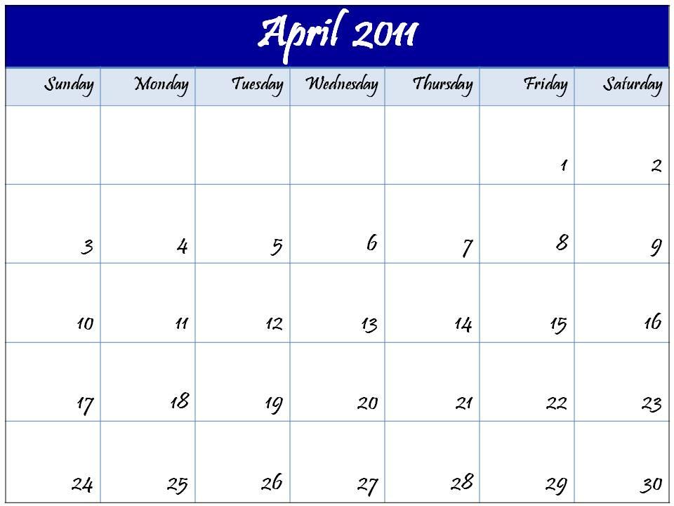editable calendar 2011. Blank+2011+calendar+april