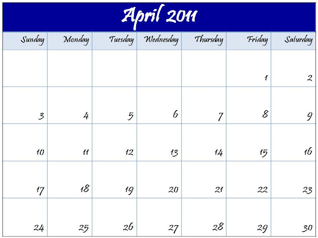 2011 calendar template with holidays. CALENDAR TEMPLATE APRIL 2011