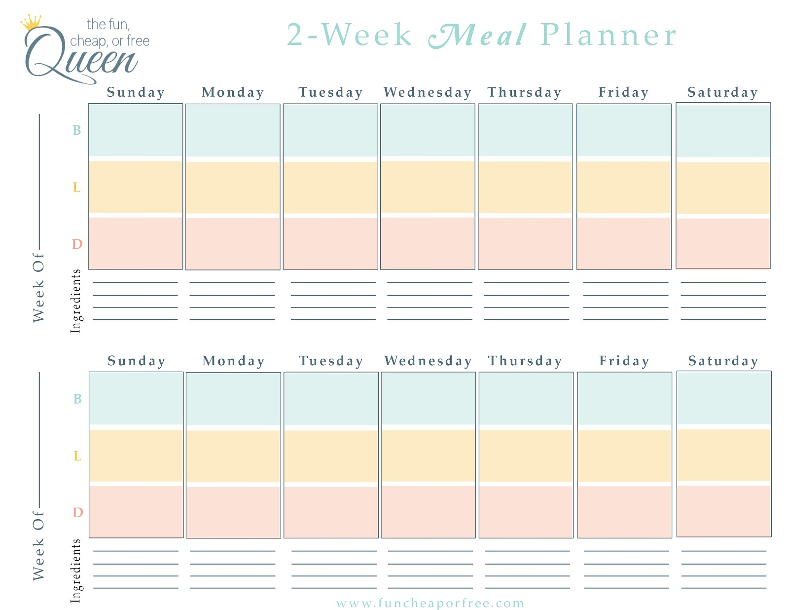 Free printable monthly meal planning calendar template 2016 for Two week meal plan template