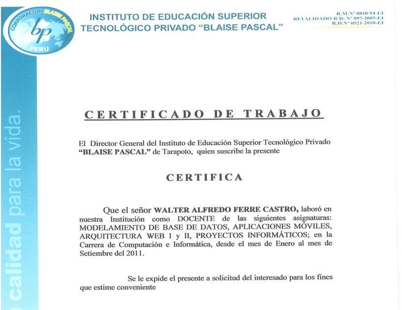 Mi curriculum vitae certificado de trabajo blaise cascal for Trabajo de arquitecto
