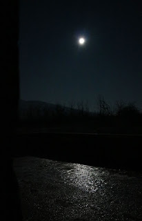 The moon, shining on the ice