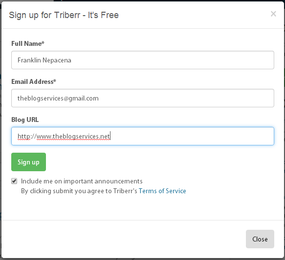 Fill-up form for Triberr