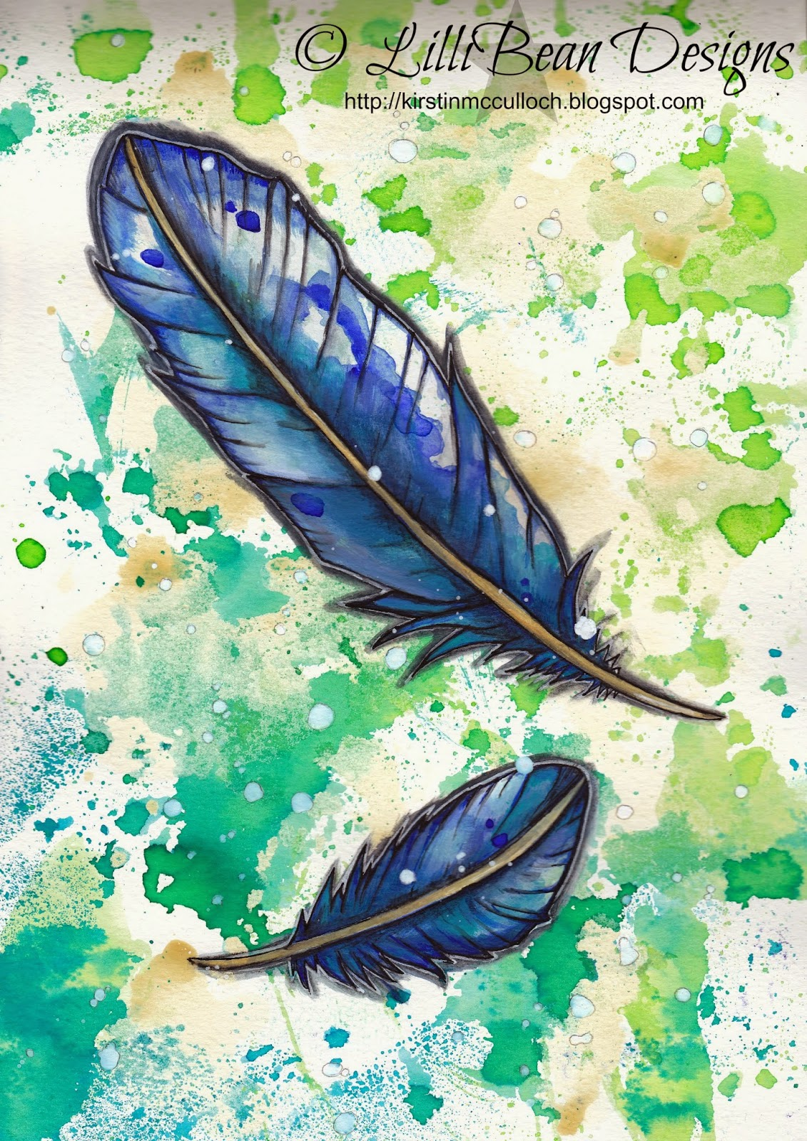 BLUE FEATHERS - journal page painting. © kirstin mcculloch LilliBean Designs http://kirstinmcculloch.blogspot.com.au