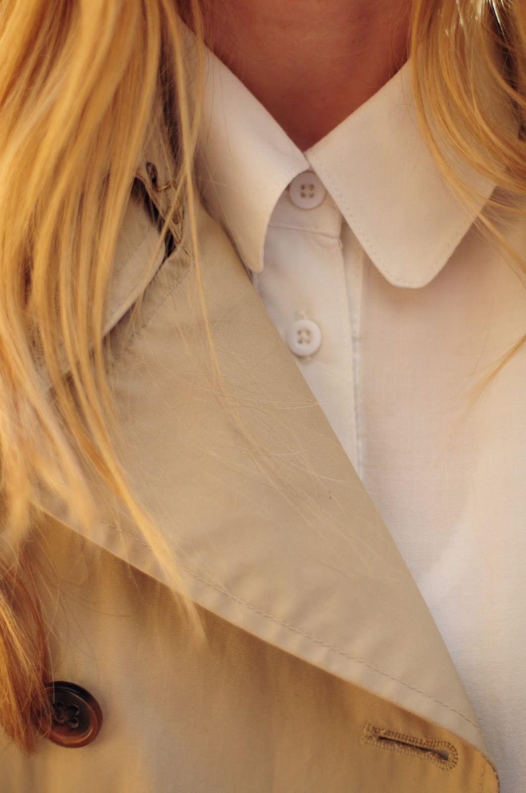 Trench with white button down