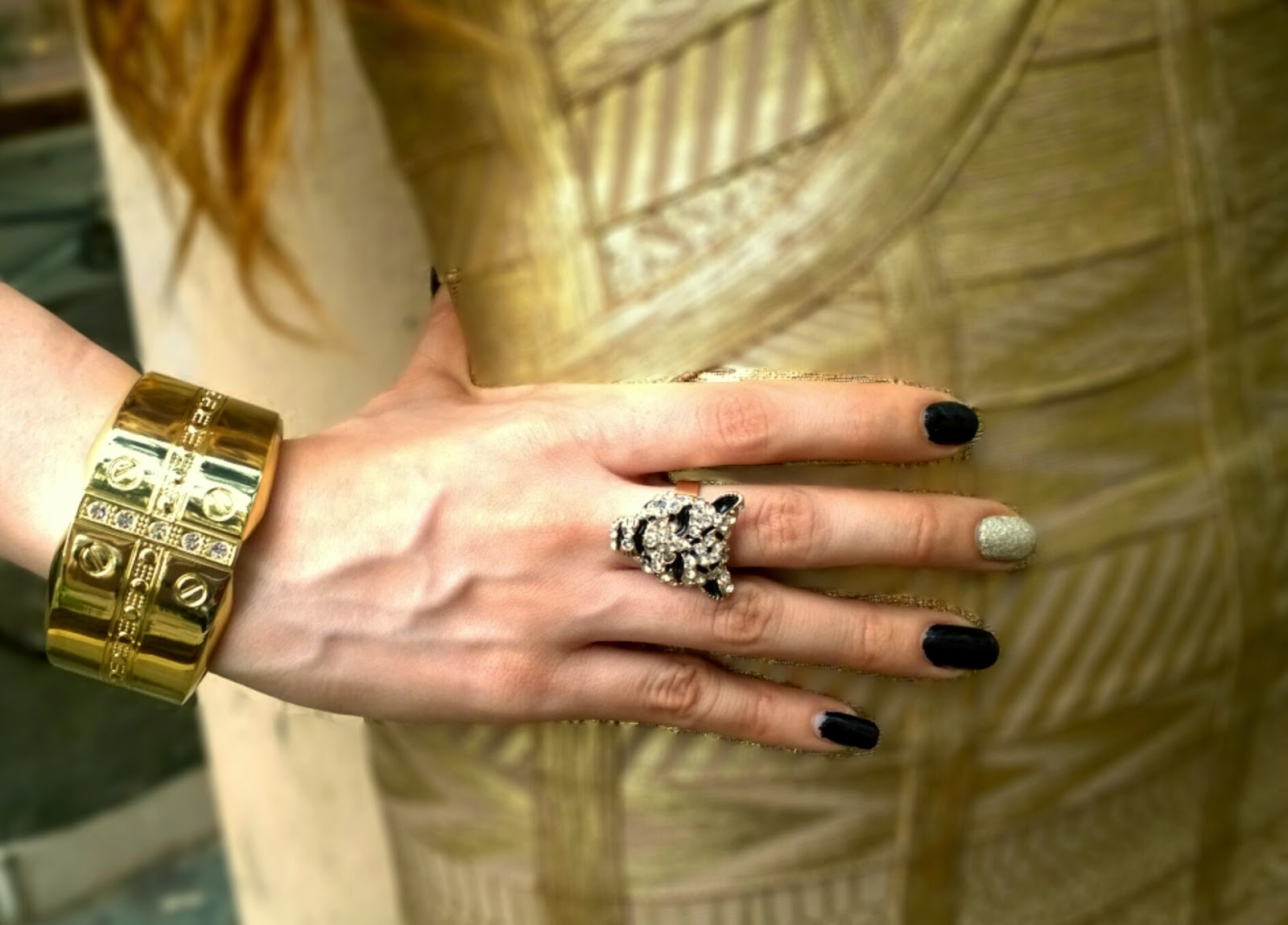 Cartier inspired gold cuff bracelet, panther ring