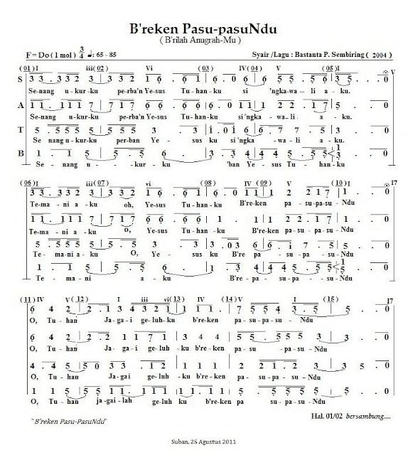 Partitur Lagu Rohani Karo: B'reken Pasu-pasuNdu (SATB)_01