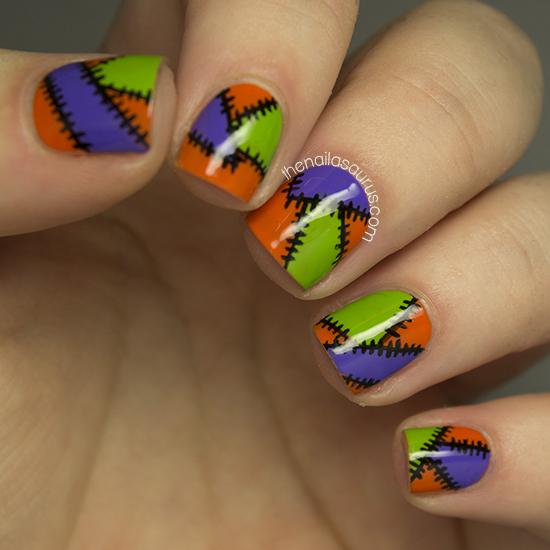 Halloween Nail Art: Halloween Patchwork Nail Art - The Nailasaurus