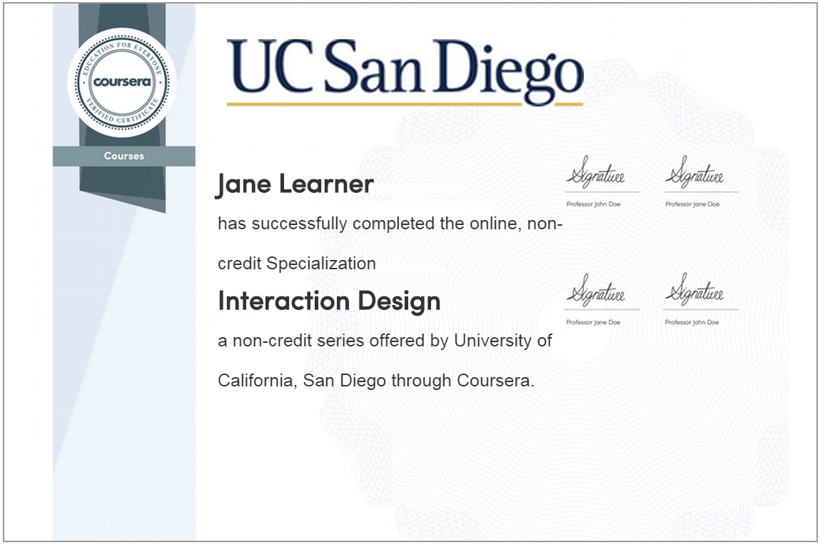 a sample specialization completion certificate