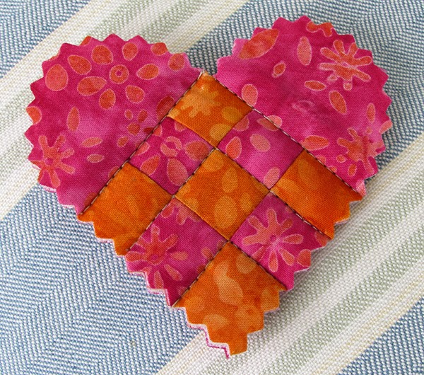 quilted Valentine's pin tutorial