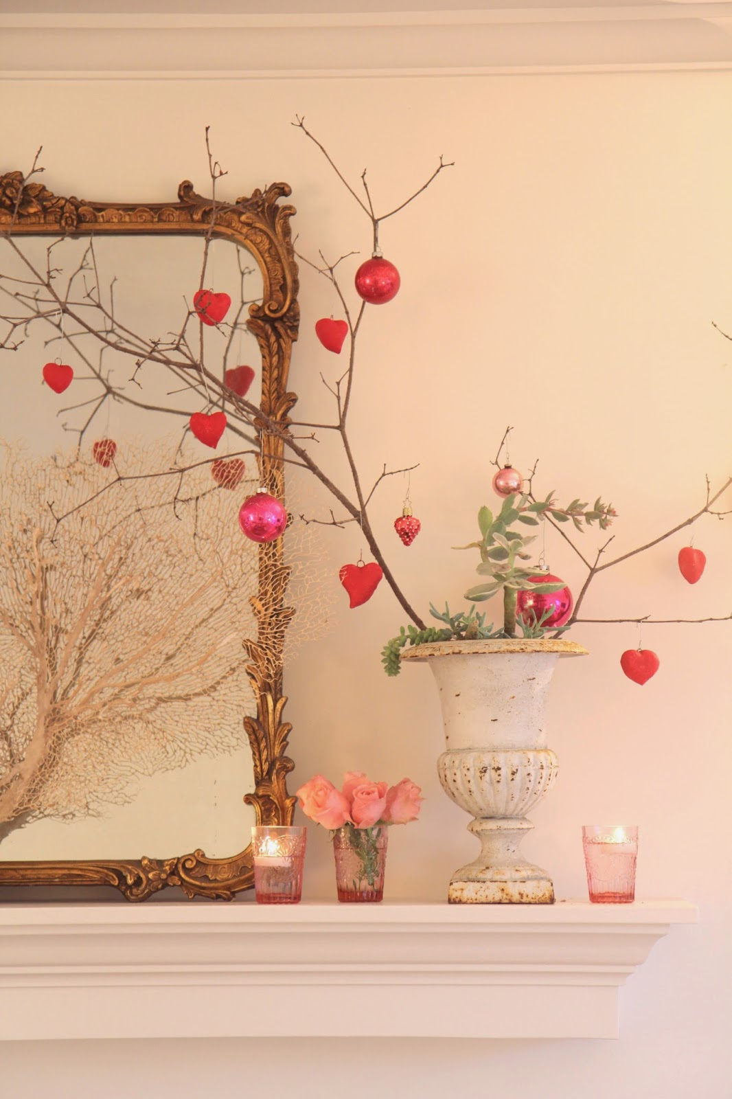 Valentine Trees with Handmade Heart Ornaments
