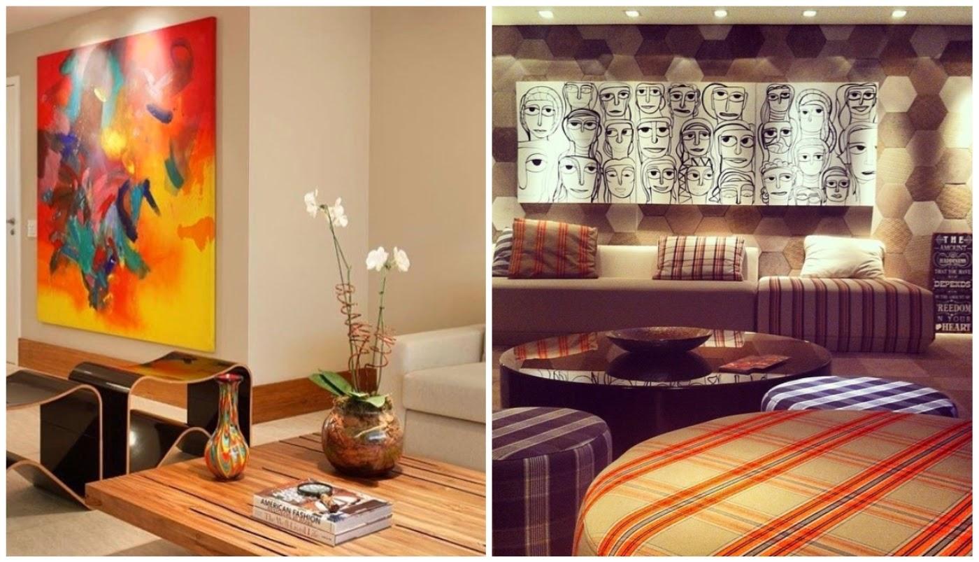 ambiente neutro com uma pela pintura na parede @casavoguebrasil e home theater @revistacasaclaudia