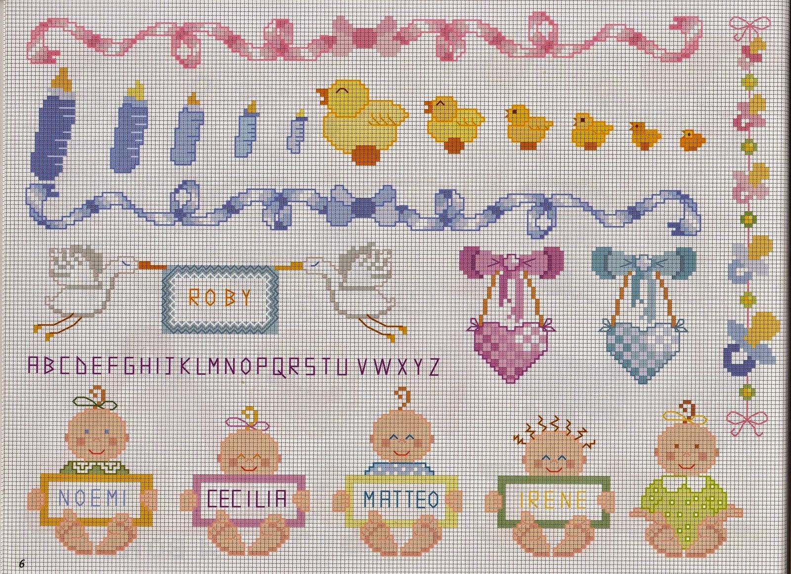 Grande raccolta di schemi e grafici per punto croce free for Punto a croce bambini