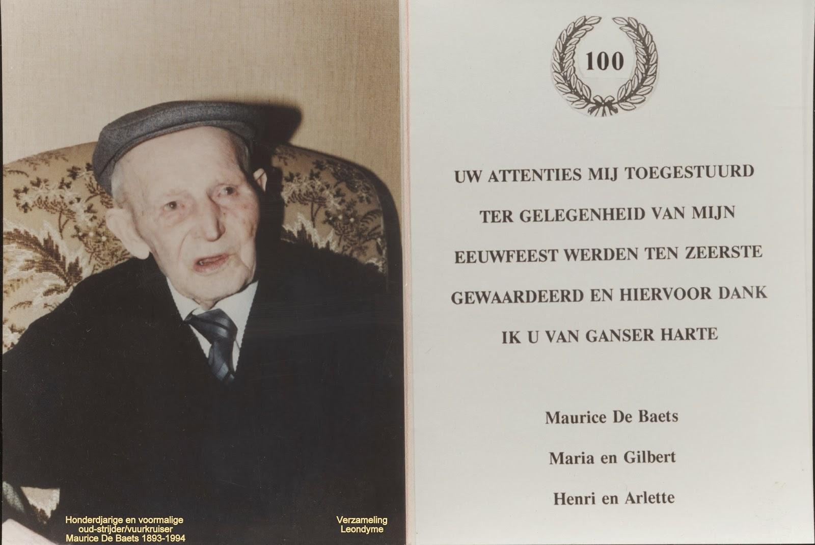 Bedankingskaart van de honderdjarige Maurice De Baets 1893-1994. Verzameling Leondyme.