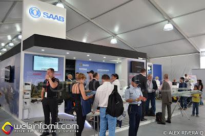 Stand de SAAB en la Feria Aeronáutica Internacional F-AIR COLOMBIA 2015.