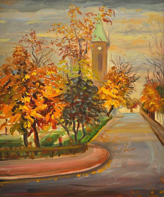 Alina Sala - widok na konecki kościół jesienią.