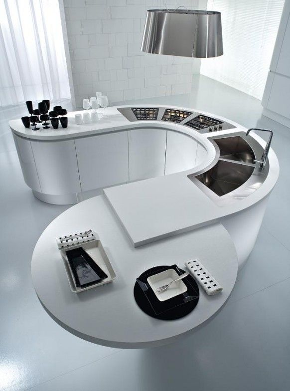 white u-shaped modern kitchen island