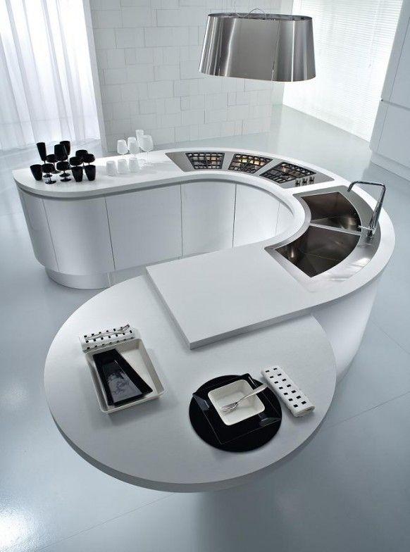 white u-shaped modern kitchen island