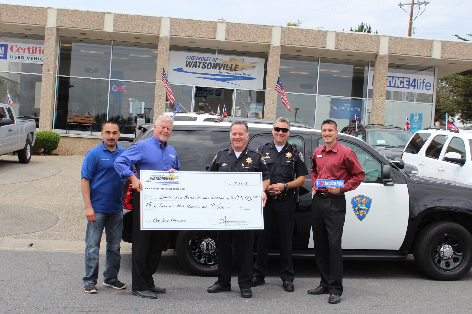 Santa Cruz Police: Chevrolet of Watsonville Car Show Nets $4,400 for
