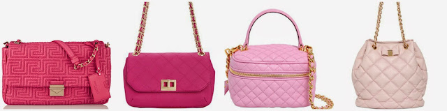 Three of these pink quilted bags are from Versace, Moschino, and Salvatore Ferragamo for thousands of dollars and one is from Calvin Klein on sale for under $100. Can you guess which one is the more affordable bag? Click the links below to see if you are correct!