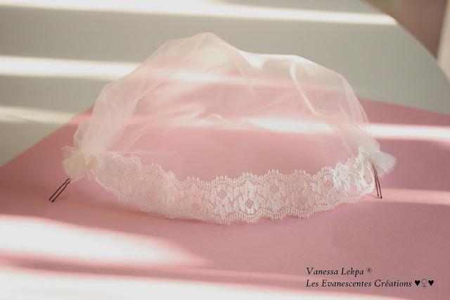 voilette birdcage de mariée en vente etsy ALM style vintage années 50 tulle de soie et dentelle de calais ivoire blanche brodé de perles