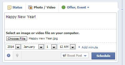 Scheduled Happy New Year on Facebook