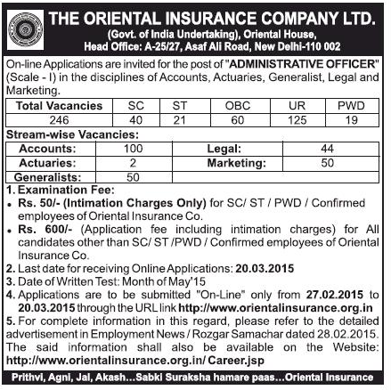 Oriental Insurance OICL Recruitment 2015 For 246 Actuaries Accounts
