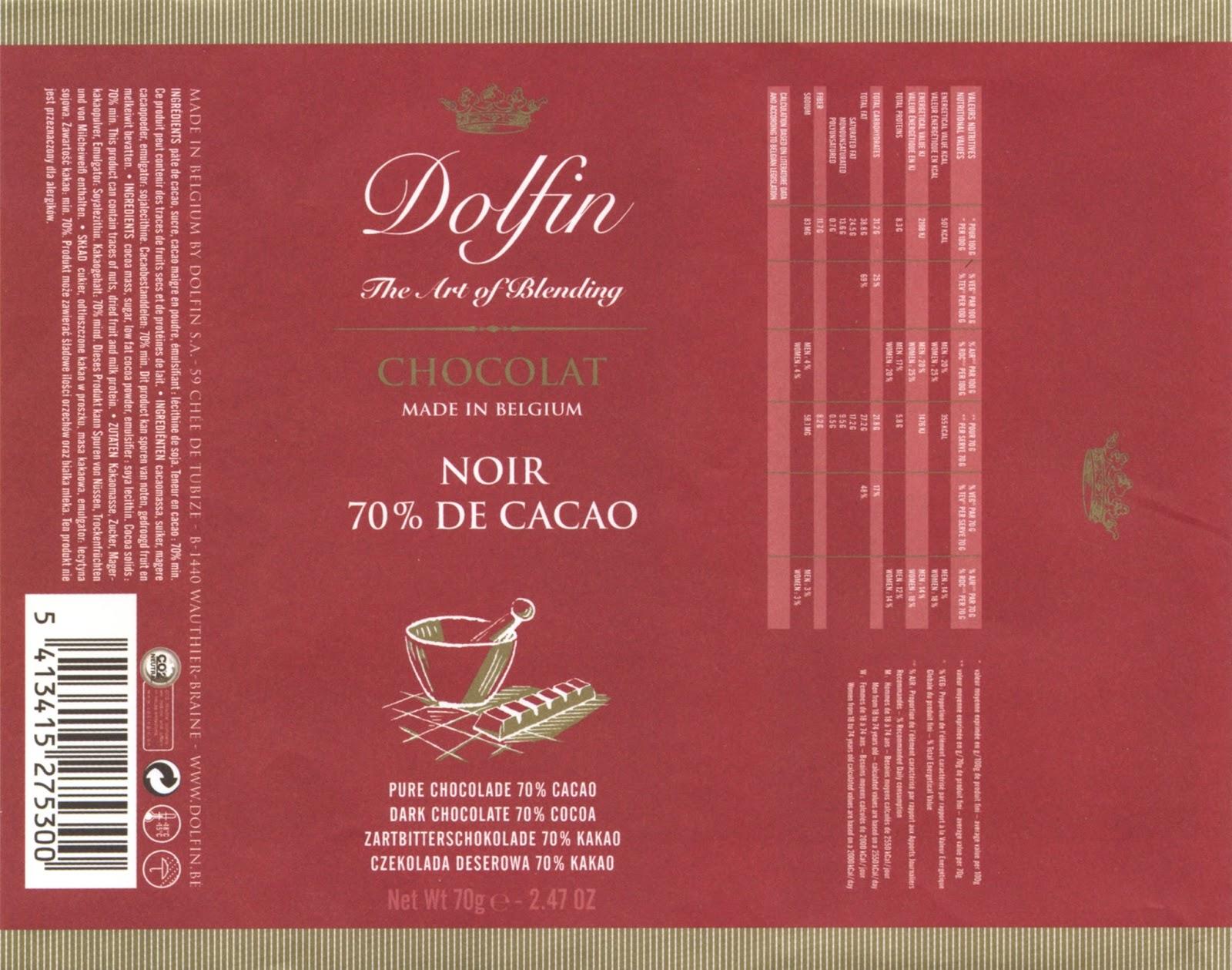 tablette de chocolat noir dégustation dolfin noir 70