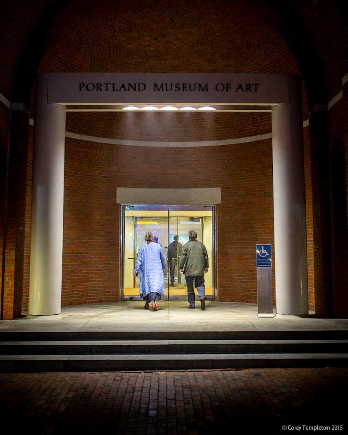 Portland, Maine USA December 2015 photo by Corey Templeton. Visitors heading into the Museum of Art at 7 Congress Square.