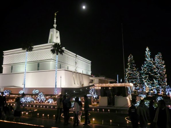 Christmas lights at the Mexico City L D S Temple Grounds at night